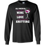All I Need is Wine-Love-Knitting Long Sleeve Ultra Cotton Tshirt - Crafter4Life - 3