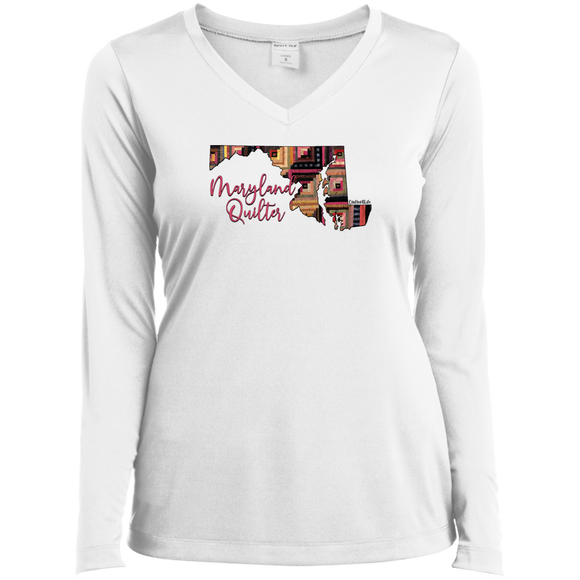 Maryland Quilter Ladies' LS Performance V-Neck Shirt