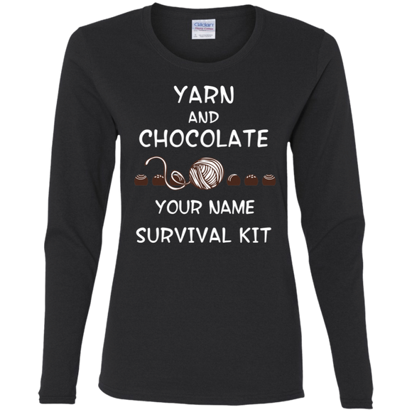 Yarn and Chocolate Survival Kit - Personalized Ladies Long Sleeve Shirts