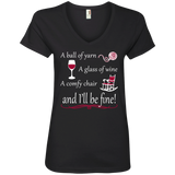 I'll be Fine Ladies V-Neck T-Shirt