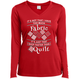 I Shop Faster than I Quilt Ladies Long Sleeve Performance V-neck Tee - Crafter4Life - 5