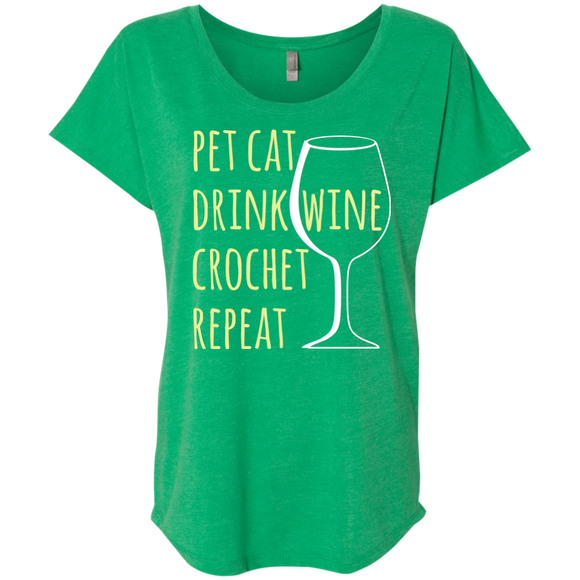 Pet Cat-Drink Wine-Crochet Ladies Triblend Dolman Sleeve