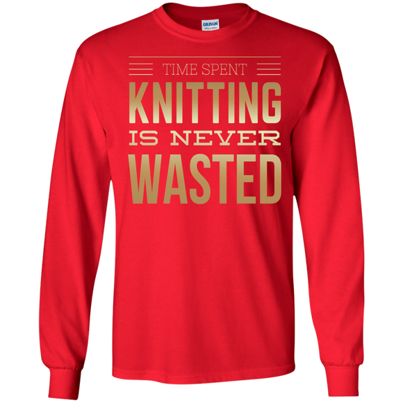 Time Spent Knitting Long Sleeve Ultra Cotton T-Shirt - Crafter4Life - 1