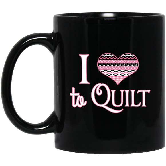 I Heart to Quilt Black Mugs