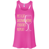 Pet Cat-Drink Wine-Crochet Flowy Racerback Tank