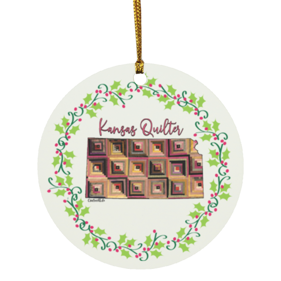 Kansas Quilter Christmas Circle Ornament