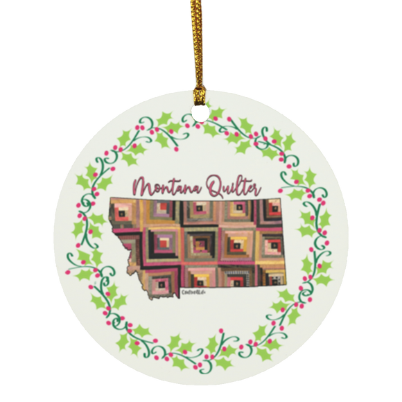 Montana Quilter Christmas Circle Ornament