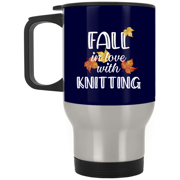 Fall in Love with Knitting Silver Stainless Travel Mug