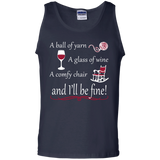 A Ball of Yarn a Glass of Wine Tank Top - Crafter4Life - 2