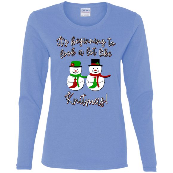 Knitmas Snow Couple - Ladies Long Sleeve Shirts