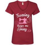 Sewing Keeps Me Going Ladies V-Neck Tee - Crafter4Life - 3