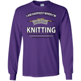 I Am Happiest When I'm Knitting Long Sleeve Ultra Cotton T-Shirt - Crafter4Life - 8