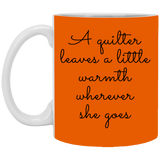 A Quilter Leaves a Little Warmth White Mugs