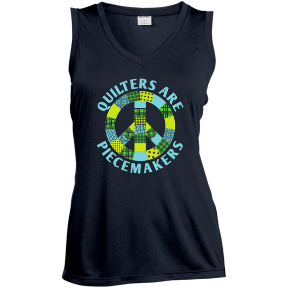 Quilters are Piecemakers Ladies Sleeveless V-Neck - Crafter4Life - 1