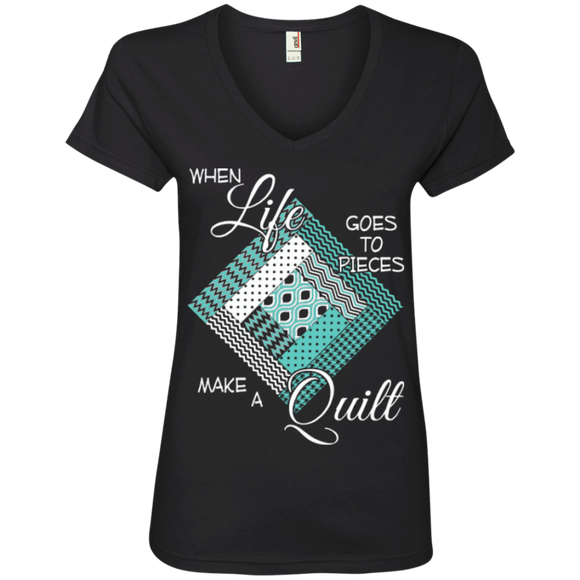 Make a Quilt (turquoise) Ladies V-Neck Tee - Crafter4Life - 1