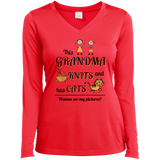 This Grandma Knits Ladies LS Performance V-neck Tee