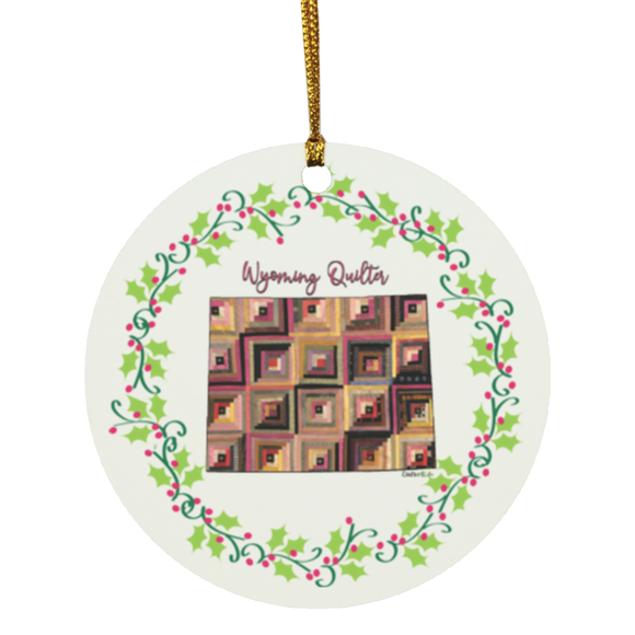 Wyoming Quilter Christmas Circle Ornament