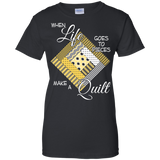 Make a Quilt (yellow) Ladies Custom 100% Cotton T-Shirt - Crafter4Life - 2