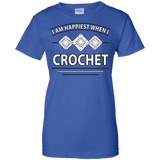 I Am Happiest When I Crochet Ladies Custom 100% Cotton T-Shirt - Crafter4Life - 12