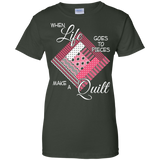 Make a Quilt (pink) Ladies Custom 100% Cotton T-Shirt - Crafter4Life - 5