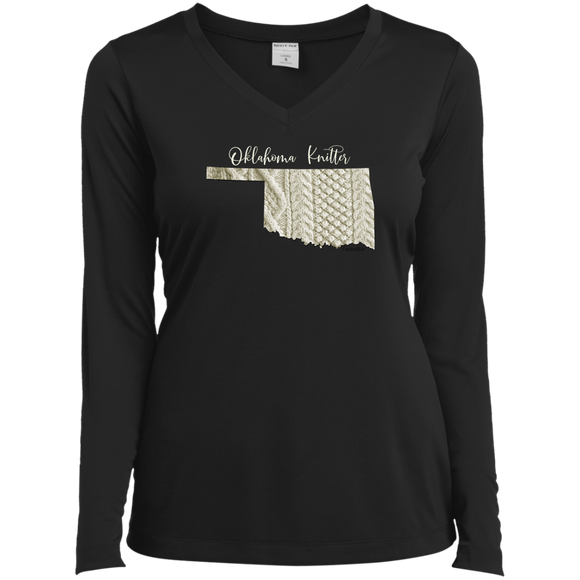 Oklahoma Knitter Ladies' LS Performance V-Neck Shirt