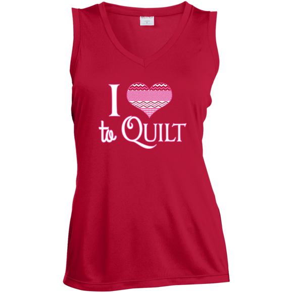 I Heart to Quilt Ladies Sleeveless V-neck - Crafter4Life - 1