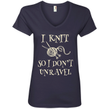 I Knit So I Don't Unravel Ladies V-Neck T-Shirt