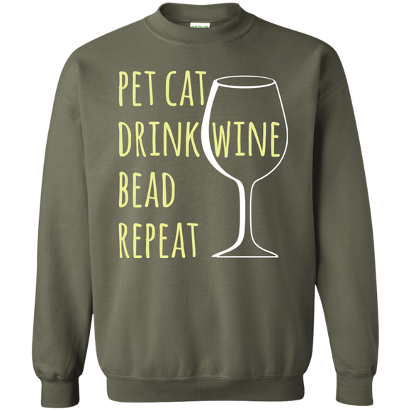 Pet Cat-Drink Wine-Bead Crewneck Pullover Sweatshirt
