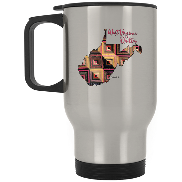 West Virginia Quilter Silver Stainless Travel Mug