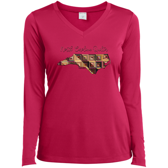 North Carolina Quilter Ladies' LS Performance V-Neck Shirt