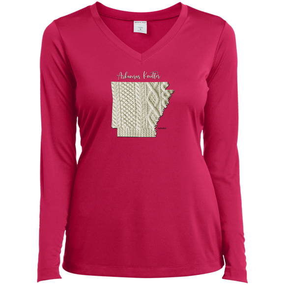 Arkansas Knitter Ladies' LS Performance V-Neck Shirt