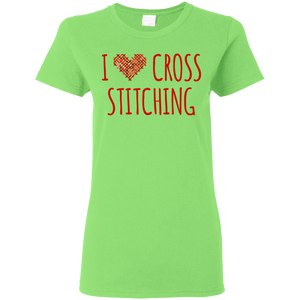 I Heart Cross Stitching Ladies Cotton T-Shirt