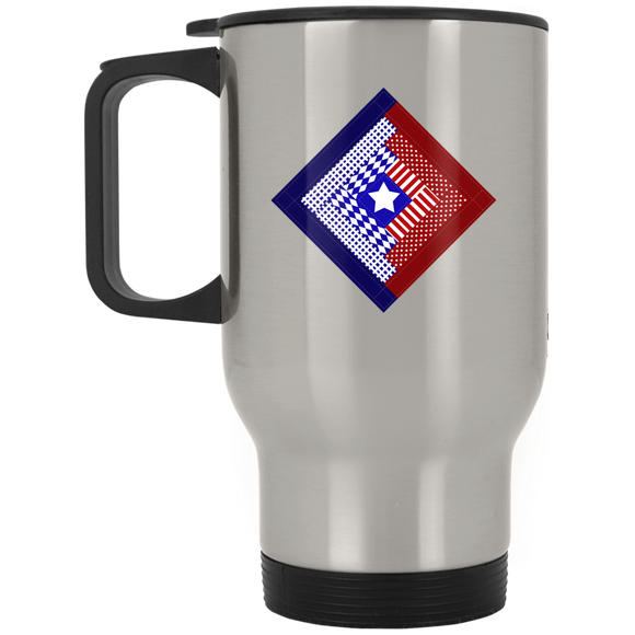 Patriotic Log Cabin Square Silver Stainless Travel Mug