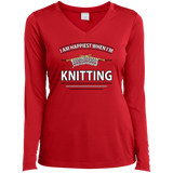 I Am Happiest When I'm Knitting Ladies Long Sleeve V-neck Tee - Crafter4Life - 4