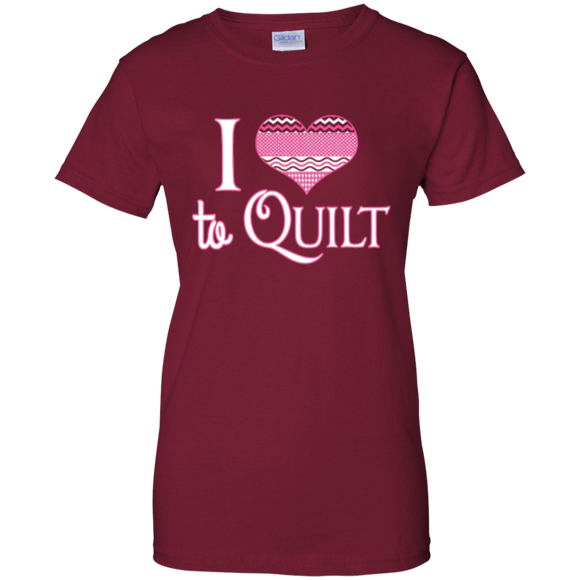 I Heart to Quilt Ladies Custom 100% Cotton T-Shirt - Crafter4Life - 4