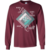 Make a Quilt (turquoise) Long Sleeve Ultra Cotton T-Shirt - Crafter4Life - 4