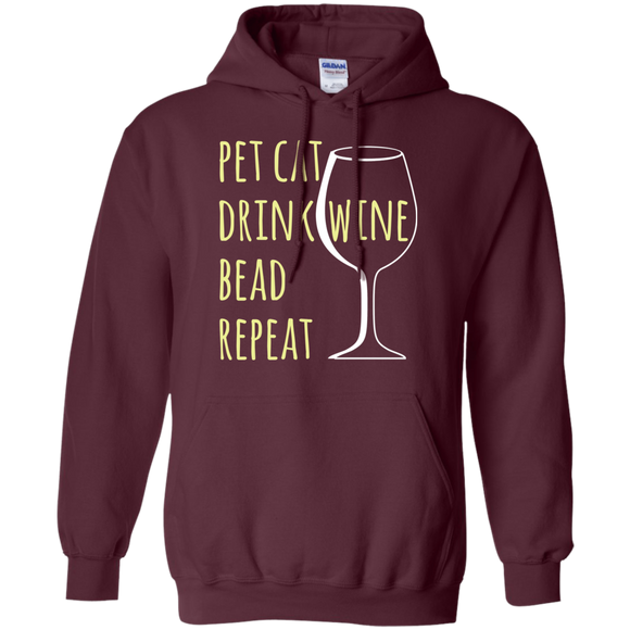 Pet Cat-Drink Wine-Bead Pullover Hoodie