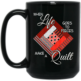 Make a Quilt (red) Black Mugs