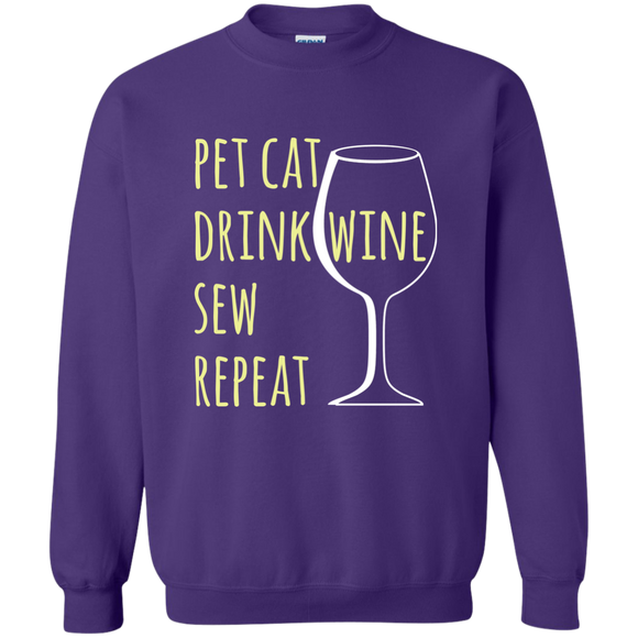 Pet Cat-Drink Wine-Sew Crewneck Pullover Sweatshirt