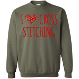 I Heart Cross Stitching Crewneck Pullover Sweatshirt