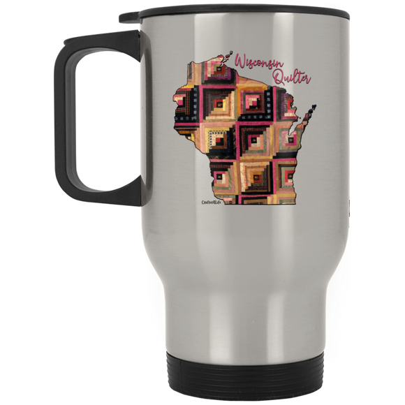 Wisconsin Quilter Silver Stainless Travel Mug