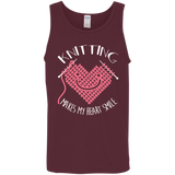 Knitting Makes My Heart Smile Cotton Tank Top
