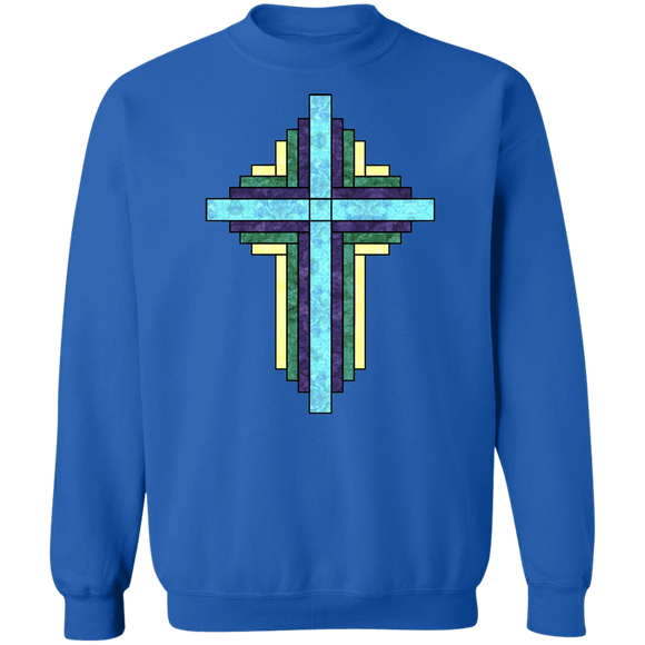 Batik Stained Glass Quilt Cross Crewneck Pullover Sweatshirt