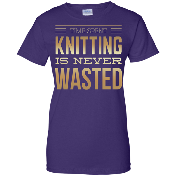 Time Spent Knitting Ladies Custom 100% Cotton T-Shirt - Crafter4Life - 1