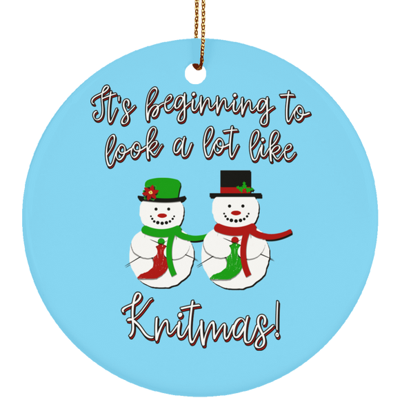 Knitmas Snow Couple Ceramic Ornaments