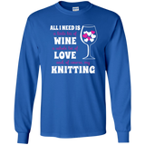 All I Need is Wine-Love-Knitting Long Sleeve Ultra Cotton Tshirt - Crafter4Life - 11