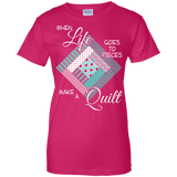 Make a Quilt (turquoise) Ladies Custom 100% Cotton T-Shirt - Crafter4Life - 7