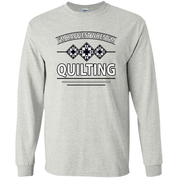 I'm Happiest When I'm Quilting LS Ultra Cotton T-Shirt