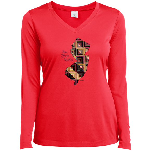 New Jersey Quilter Ladies' LS Performance V-Neck Shirt