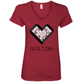 Log Cabin Heart Quilting Ladies V-Neck T-Shirt